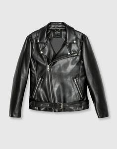 Pull&Bear - hombre - novedades - ropa - cazadora biker polipiel - negro - 09710519-I2016