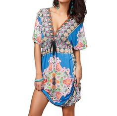 e1492637e2c Retro Women Bohemian Dress Paisley Print V-Neck Short Sleeve Beach Wear  Summer Dress Beach