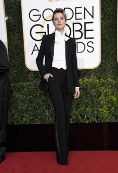 The star wore a bold suit on the Golden Globes red carpet.