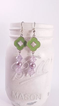Dangle Earrings by gr8byz, green and purple glass pearl and crackle glass