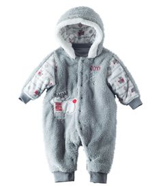 Poly fill for extra warmth and sweet Hallmark artist snow illustrations for this Baby Unisex Reindeer Games Snowsuit | Hallmark Baby Clothes