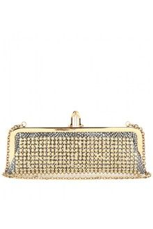 Christian Louboutin Miss Loubi Studded Snake Leather Clutch in Gold