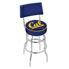 Chrome Cal Golden Bears Double-Rung Swivel Back Bar Stool