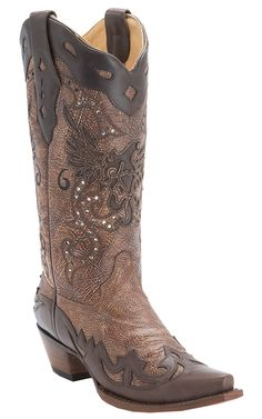 Corral® Ladies Brown with Chocolate Eagle Inlay and Wingtip Snip Toe Cowboy Boots
