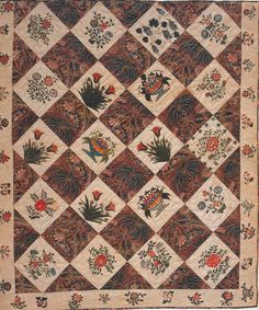 Stenciled Quilt, 1825-1835. Made by Olivia Dunham Barnes. Massachusetts. QUILTS Masterworks from the American Folk Art Museum.