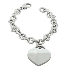 Silver Stainless Steel Charms Love Heart Womens Fashion Link Bracelet Jewelry  #Unbranded #Bangle