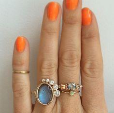 Mociun | Custom designed Labradorite and White Diamond ring; Bicolor Sapphire stone cluster; Opal solitaire ring