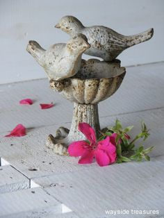 birds ~ I have this. I put some birdseed in it and then set a small votive candle in it. So Cute!