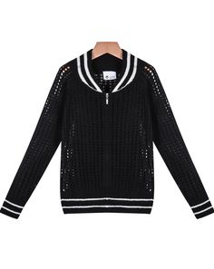 Black Long Sleeve Hollow Knit Sweater - Sheinside.com
