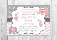 Pink and Gray Elephant Child Bathe Invitation, It's a Woman, Elephant, Chevron, Pink, Little Peanut, Child Bathe Invitation, Woman Child Bathe. ** See even more at the image  Learn more at  https://www.etsy.com/listing/387221610/pink-and-grey-elephant-baby-shower