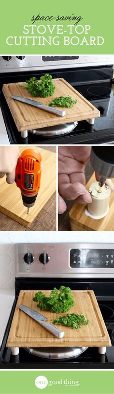 See how you can modify a standard cutting board to create a moveable work surface you can set right on your stovetop. Counter space crisis solved!