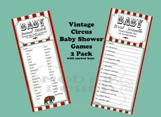 Entertain guests in style with these coordinating Vintage Circus Themed Baby Shower Games!    This listing includes:   -Baby Word Scramble- guests
