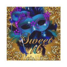 Sweet Sixteen 16 Masquerade Blue Gold Purple  Personalized Invitations by zizzago.com