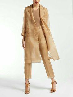 Silk organza coat c Look Fashion, Hijab Fashion, Fashion Dresses, Fashion Design, Fashion Trends, Couture Fashion, Organza Dress, Silk Organza, Womens Fashion Online