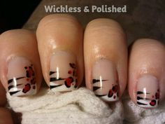 Cheetah striped french manicure