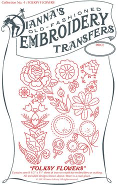 Iron-On embroidery transfer Folksy Flowers to stitch onto and customize any fabric pilow case towel napkin DiY