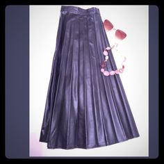 Pleated vegan leather skirt Pleated black skirt, invisible side zip, non leather 24 in long size 7. Skirts Midi