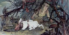 Alice - watercolor and ink on paper by AJ Frena Watercolor And Ink, Watercolor Illustration, Watercolor Paintings, Realistic Animal Drawings, Concept Art World, Pastel Drawing, Surreal Art, Graphic Design Illustration, Traditional Art