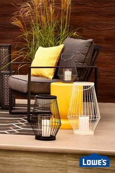 "Embrace the ""Metro Modern"" patio trend by contrasting bursts of yellow against sleek shades of grey."