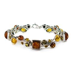 Multicolor Amber Sterling Silver Large Designer Bracelet 75 >>> Visit the image link more details.