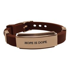 Hope is Dope Unisex Stainless steel and silicone adjustable bracelet