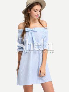 Vestido+hombro+al+aire+rayas+lazo+holgado+-azul+15.75