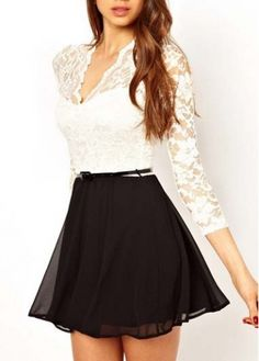 Black and White Color Blocking Dress