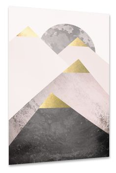 Modern Scandi design of mountain peaks topped with gold