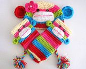 #SockMonkeyApparel Sock Monkey Hat and Leg Warmers Set Size 2T with 14 inch tail