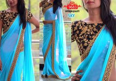 buy saree online Sky Blue Colour Georgette Designer Inspired Saree Golden Border Work Buy Saree online - Buy Sarees online