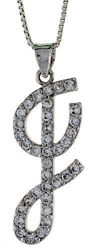 Sterling Silver Script Initial Letter I Alphabet Pendant with Cubic Zirconia Stones, 1 3/8 long Sabrina Silver. $47.94
