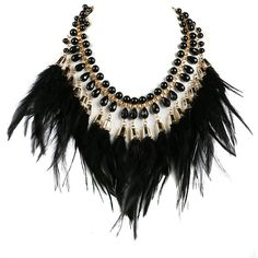 Black Feather Tassel Stone Statement Necklace (1,310 INR) ❤ liked on Polyvore featuring jewelry, necklaces, black jewelry, tassle necklace, stone necklace, statement necklace and tassel jewelry