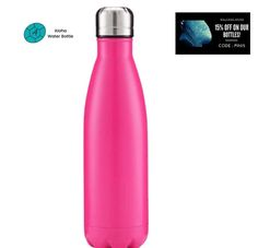 FREE SHIPPING. BPA-FREE. PINK IS AN ELEGANT, DYNAMIC COLOR WITH A SUMPTUOUS TOUCH OF TENDERNESS. LET YOURSELF BE FILLED WITH LOVE WITH OUR SUPERB STAINLESS STEEL WATER BOTTLE PINK. This insulated bottle is the perfect alternative to the plastic bottle. In addition to being eco-responsible, you will be able to enjoy your drinks at the ideal temperature. Made of premium quality materials, you can take it with you on your work or hiking trip. #travelbottle #insulatedbottle #waterbottle Travel Bottles, Pink Design, Stainless Steel Water Bottle, Plastic Bottles, Alternative, Hiking, Touch, Canning, Free Shipping