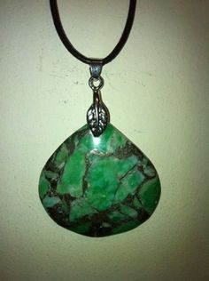 Lovely New Matrix Turquoise Teardrop Necklace with 24 Cord One of A Kind