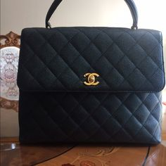 d49fa7402b2c Chanel jumbo Kelly style caviar bag 1 DAY SALE! Authentic CHANEL Classic  Quilted Kelly Style Handbag Black quilted caviar outer Black leather  interior Front ...