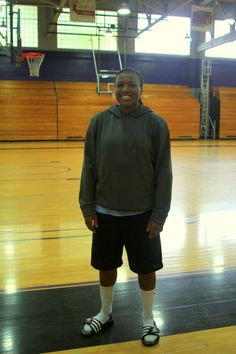 """""""Do you play basketball here?"""" """"I am a point guard. I originally was a soccer player but my Dad forced me to play basketball. I like basketball, but soccer will always be my first love."""""""