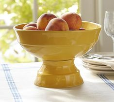 Create an inviting table with serving bowls from Pottery Barn. Find ceramic, glass and wood serving bowls and dishes in a variety of colors and styles. Ceramic Fruit Bowl, Fruit Bowls, Dressing For Fruit Salad, Fruit Juice Recipes, Fruit Party, New Fruit, Fruit Displays, Serving Dishes, Pottery Barn