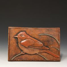 Phoebe Tile by Carolyn Dilcher-Stutz - Handmade pottery bird tile / art tile Craftsman Home Decor, Craftsman Tile, Handmade Tiles, Handmade Pottery, Clay Crafts, Arts And Crafts, Rustic Bathroom Designs, Clay Wall Art, Hobbies That Make Money