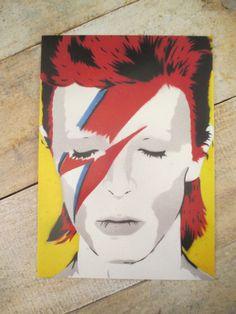 David Bowie 5x7 PRINT Stencil Art Spray Paint by KCandTheBat