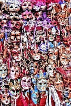 Venetian masks in a plethora of colors. Venetian Carnival Masks, Carnival Of Venice, Rome Florence, Costume Venitien, Venice Mask, Cool Masks, Masks Art, Beautiful Mask, Carnival Costumes