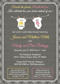 Joint Baby Shower Invitation, onesies, Digital, Printable file (any colors)