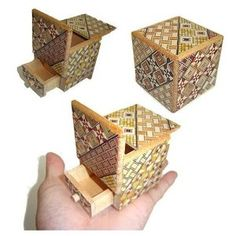 2 Sun 4 Steps Cube Secret DRAWER - Japanese Puzzle Box