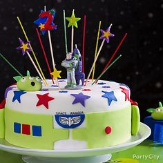 Impress little space rangers with this Toy Story cake.  Click for decorating details & out-of-this-world birthday candles!