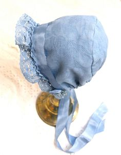 Blue Baby Bonnet. Vintage linen baby. Cotton baby girl hat. Baby Hats 17181d6d633