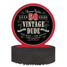 Vintage Dude Tischdeko zum 50. Geburtstag für richtige Männer. Jetzt in unserem Online-Shop: www.partyboxes.at