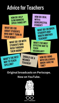 Advice for Teachers Video Series answers the most common questions we get from teachers: How do I...? What do I...? Should I...? In each weekly Periscope broadcast, I answered one reader question about teaching. #CultofPedagogy