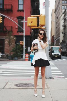 Top: SPORTMAX  |  Skirt: & Other Stories  |  Belt: SPORTMAX  |  Clutch: Bimba y Lola  |  Glasses: Celine  |  Shoes: Alexander Wang  |  Bracelet: Hermes  |  Rings: Tom Wood