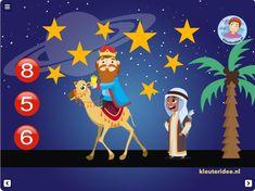 Digibordles rekenen, tel de sterren, kerst, kleuteridee