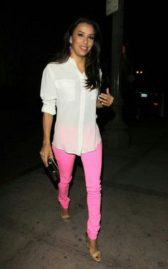 Eva Longoria pink pants street style