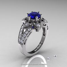 Art Deco 14K White Gold 1.0 Ct Blue Sapphire Diamond Wedding Ring, Engagement Ring R286-14KWGDBS by DesignMasters on Etsy https://www.etsy.com/listing/173995929/art-deco-14k-white-gold-10-ct-blue